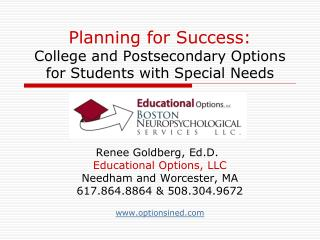 Planning for Success:  College and Postsecondary Options for Students with Special Needs