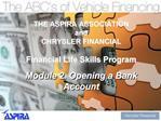 THE ASPIRA ASSOCIATION  and CHRYSLER FINANCIAL  Financial Life Skills Program