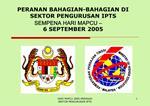 PERANAN BAHAGIAN-BAHAGIAN DI SEKTOR PENGURUSAN IPTS  SEMPENA HARI MAPCU    6 SEPTEMBER 2005