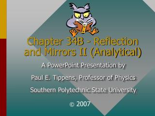 Chapter 34B - Reflection and Mirrors II Analytical