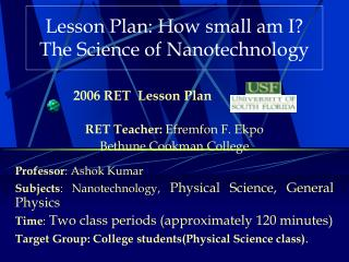 Lesson Plan: How small am I The Science of Nanotechnology