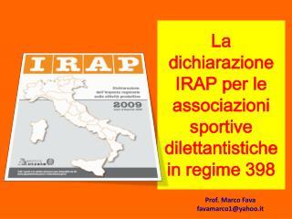 La dichiarazione IRAP per le associazioni sportive dilettantistiche in regime 398