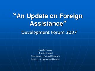 An Update on Foreign Assistance