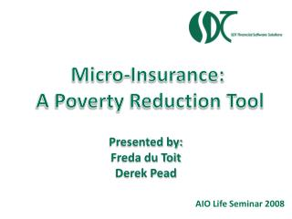 Micro-Insurance:  A Poverty Reduction Tool