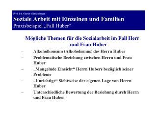 Prof. Dr. G nter Gerhardinger Soziale Arbeit mit Einzelnen und Familien Praxisbeispiel  Fall Huber