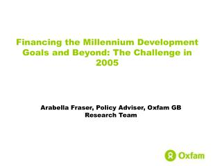 Financing the Millennium Development Goals and Beyond: The Challenge in 2005