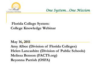 Florida College System: College Knowledge Webinar   May 16, 2011 Amy Albee Division of Florida Colleges Helen Lancashire