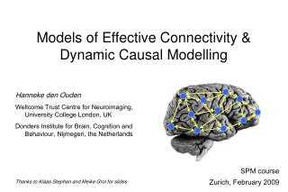 Models of Effective Connectivity  Dynamic Causal Modelling
