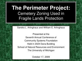The Perimeter Project: Cemetery Zoning Used in  Fragile Lands Protection