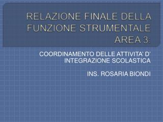 RELAZIONE FINALE DELLA FUNZIONE STRUMENTALE AREA 3: