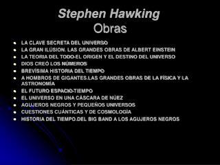 Stephen Hawking   Obras