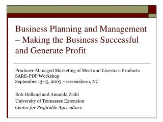 Business Planning and Management   Making the Business Successful and Generate Profit