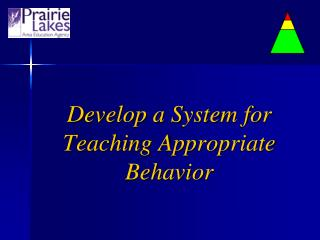 Develop a System for Teaching Appropriate Behavior