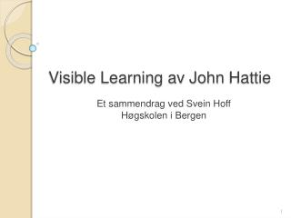 Visible Learning av John Hattie