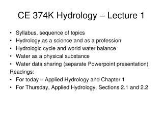 CE 374K Hydrology   Lecture 1