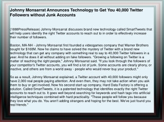 Johnny Monsarrat Announces Technology to Get You 40,000