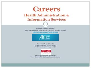Careers  Health Administration  Information Services