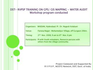 Project Catalyzed and Supported By  R V P S P , NCSTC Network, DST, Govt. of India.