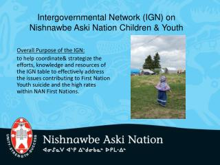 Intergovernmental Network IGN on Nishnawbe Aski Nation Children  Youth