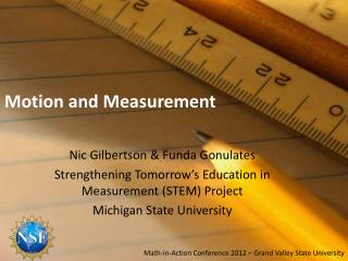 Motion and Measurement