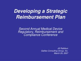 Developing a Strategic Reimbursement Plan