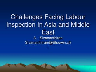 Challenges Facing Labour Inspection In Asia and Middle East