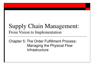 Supply Chain Management: From Vision to Implementation