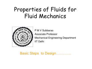 Properties of Fluids for  Fluid Mechanics