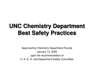 UNC Chemistry Department Best Safety Practices