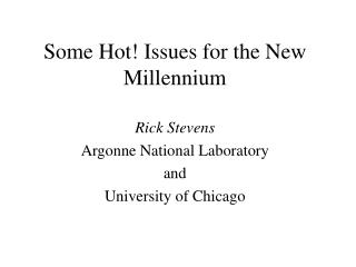 Some Hot Issues for the New  Millennium