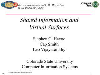 Shared Information and  Virtual Surfaces  Stephen C. Hayne Cap Smith Leo Vijayasarathy