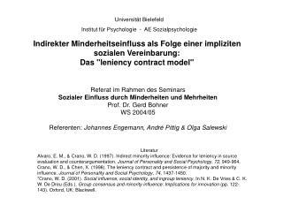 Indirekter Minderheitseinfluss als Folge einer impliziten sozialen Vereinbarung:  Das leniency contract model