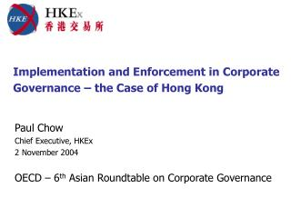 Implementation and Enforcement in Corporate Governance   the Case of Hong Kong