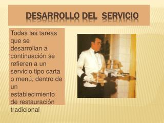 DESARROLLO DEL  SERVICIO
