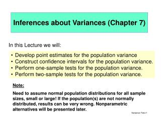 Inferences about Variances Chapter 7