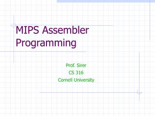 MIPS Assembler Programming