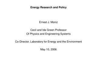 Energy Research and Policy