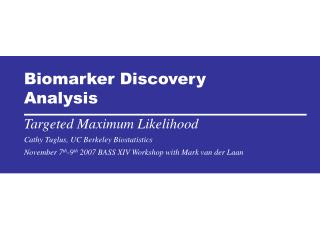 Biomarker Discovery Analysis