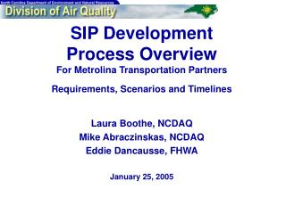 SIP Development  Process Overview For Metrolina Transportation Partners Requirements, Scenarios and Timelines