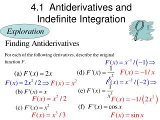 4.1  Antiderivatives and  Indefinite Integration