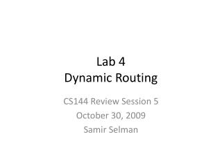 Lab 4 Dynamic Routing