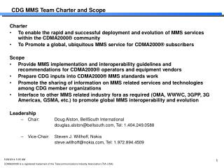 CDG MMS Team Charter and Scope