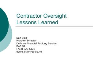 Contractor Oversight  Lessons Learned