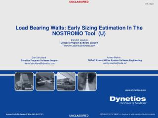 Load Bearing Walls: Early Sizing Estimation In The NOSTROMO Tool  U