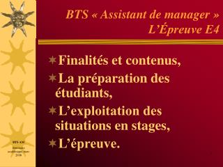 BTS   Assistant de manager   L  preuve E4