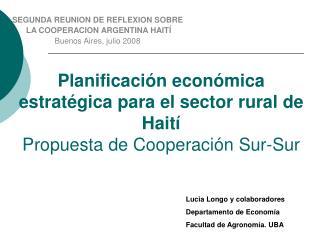 Planificaci n econ mica estrat gica para el sector rural de Hait  Propuesta de Cooperaci n Sur-Sur