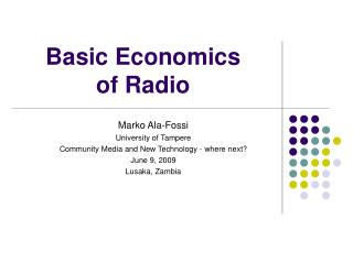 Basic Economics  of Radio