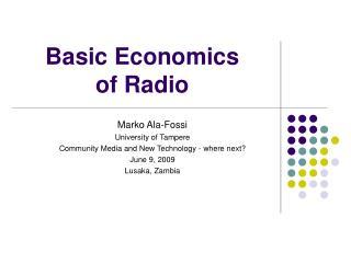 Basic Economics  of Radio