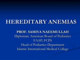 HEREDITARY ANEMIAS