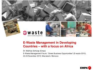 E-Waste Management in Developing Countries   with a focus on Africa